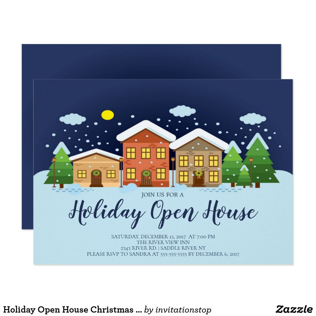 Open House Christmas Party Ideas Part - 50: Holiday Open House Christmas Party Invitation