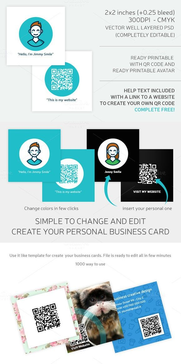 Square business card qr code business card templates pinterest square business card qr code reheart Image collections
