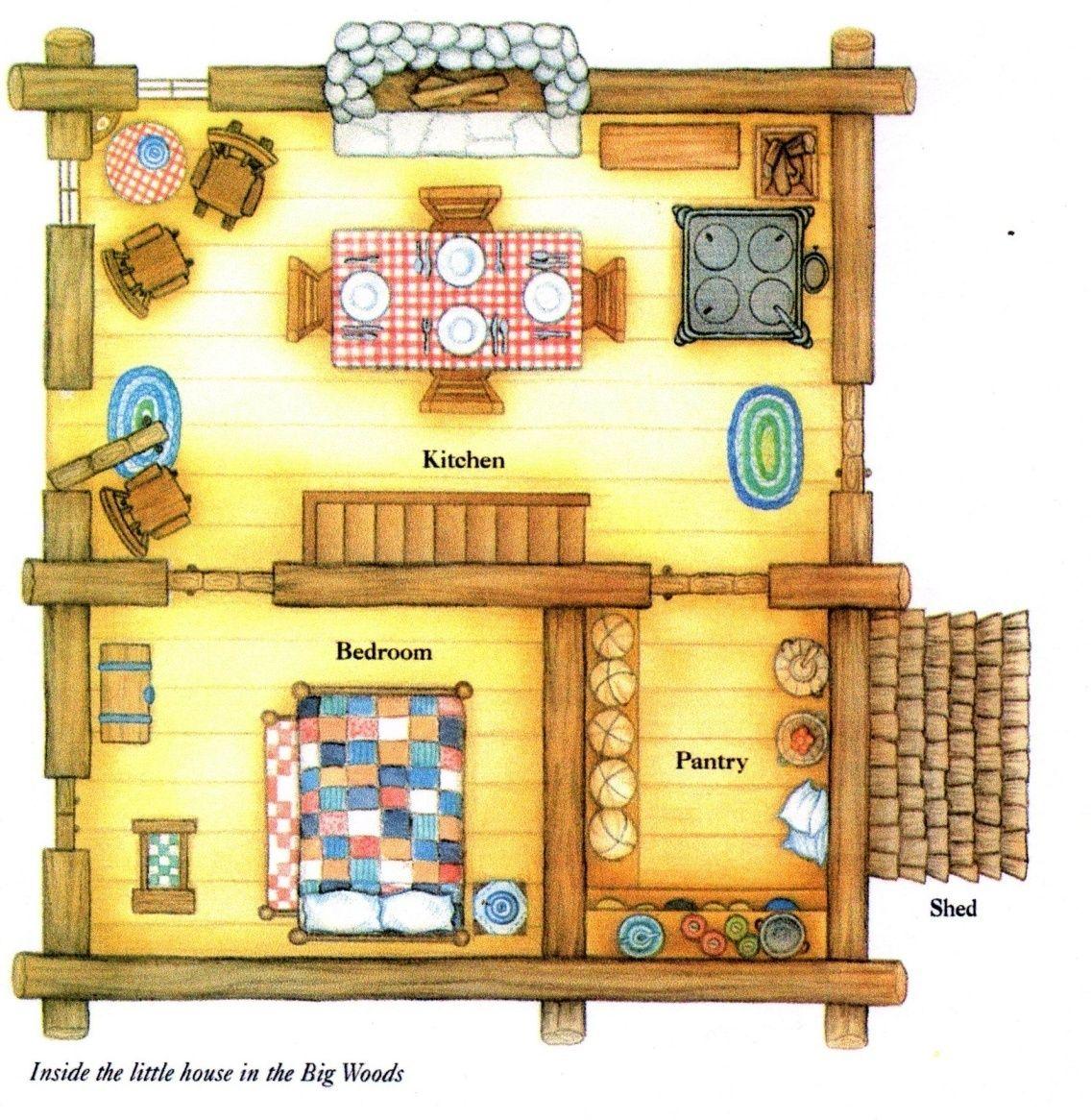 Little House In The Big Woods Laura Ingalls Wilder Floorplan Of