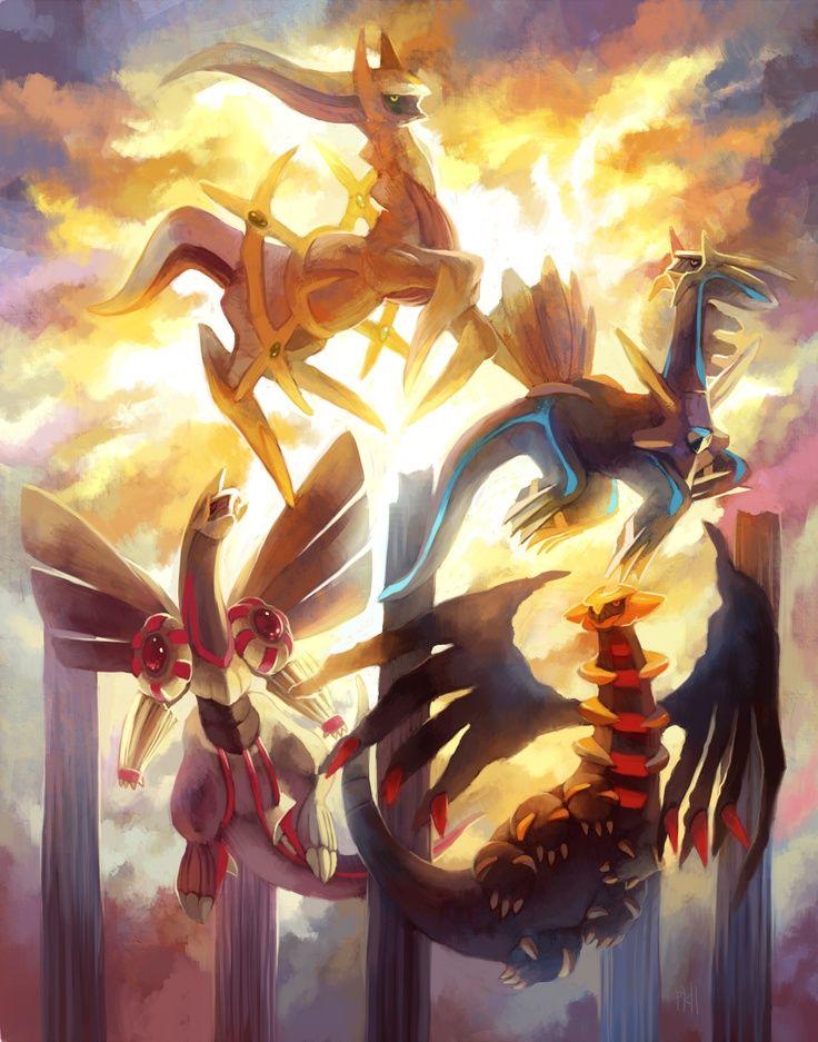 Arceus, Dialga, Palkia and Giratina | Pokemon, Pokemon art ...Arceus Giratina Dialga Palkia