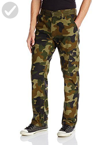 Southpole Mens Basic Cargo Long Pant with Color-Matching Belt