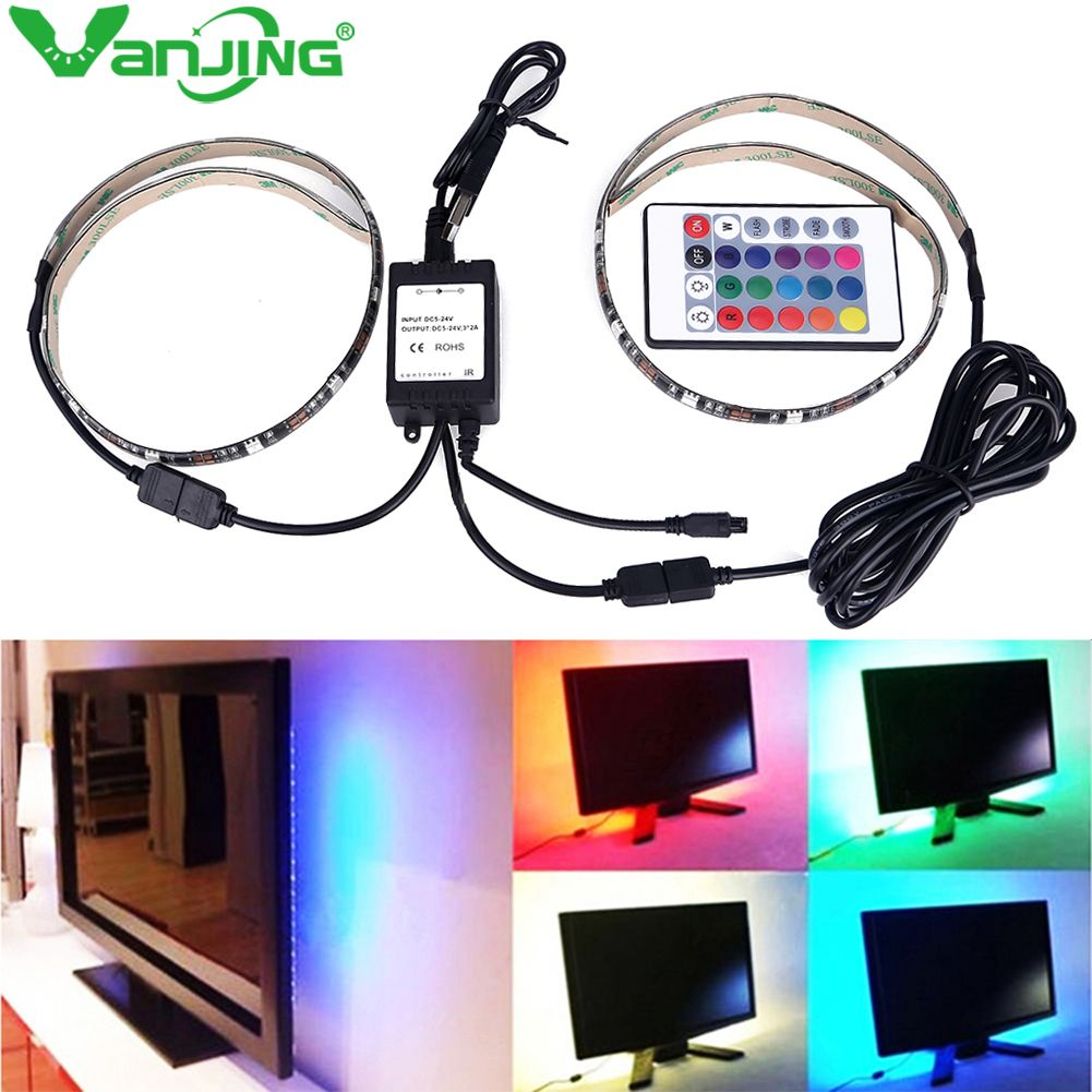 2X50cm USB RGB LED Strip 5050 SMD Waterproof Flexible LED