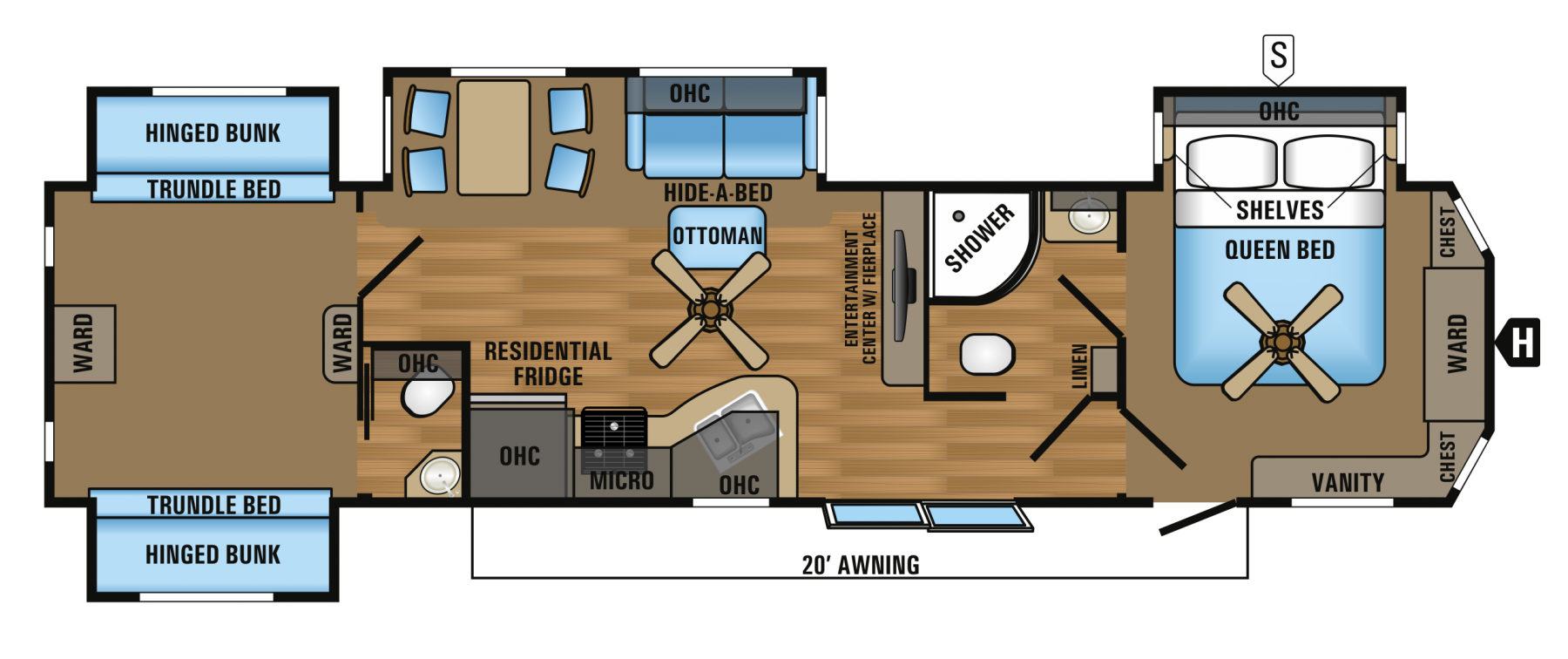 Travel Trailer 2 Bedroom 2 Bathroom Will Actually Fit 4 6 Kids And 2 Parents Travel Trailer Floor Plans Jayco Travel Trailers Rv Travel Trailers
