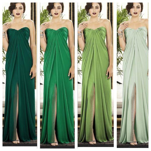 Ombre green bridesmaids. Gowns via WeddingtonWay.com, dress number Dessy 2879.