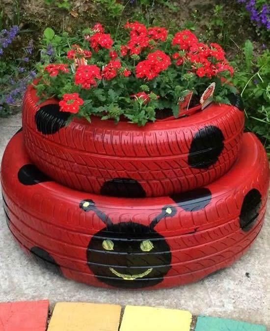 Ideias para fazer Vasos com Pneus Vasos Jardinagem, Jardim reciclado e Artesanato para jardim -> Jardins Decorados Com Pneus