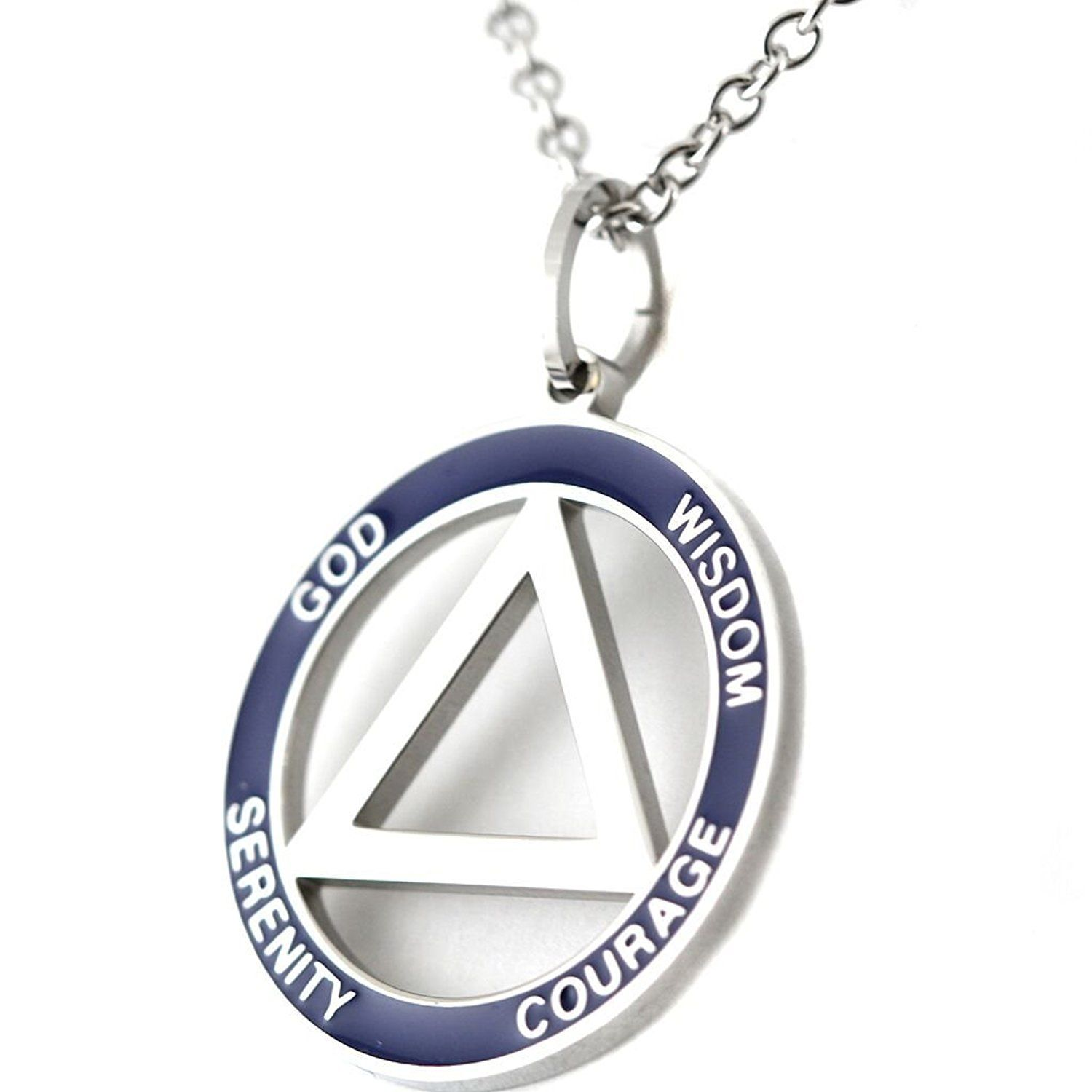 12 Step Recovery Pendant Stainless Steel Aa Symbol Necklace Serenity