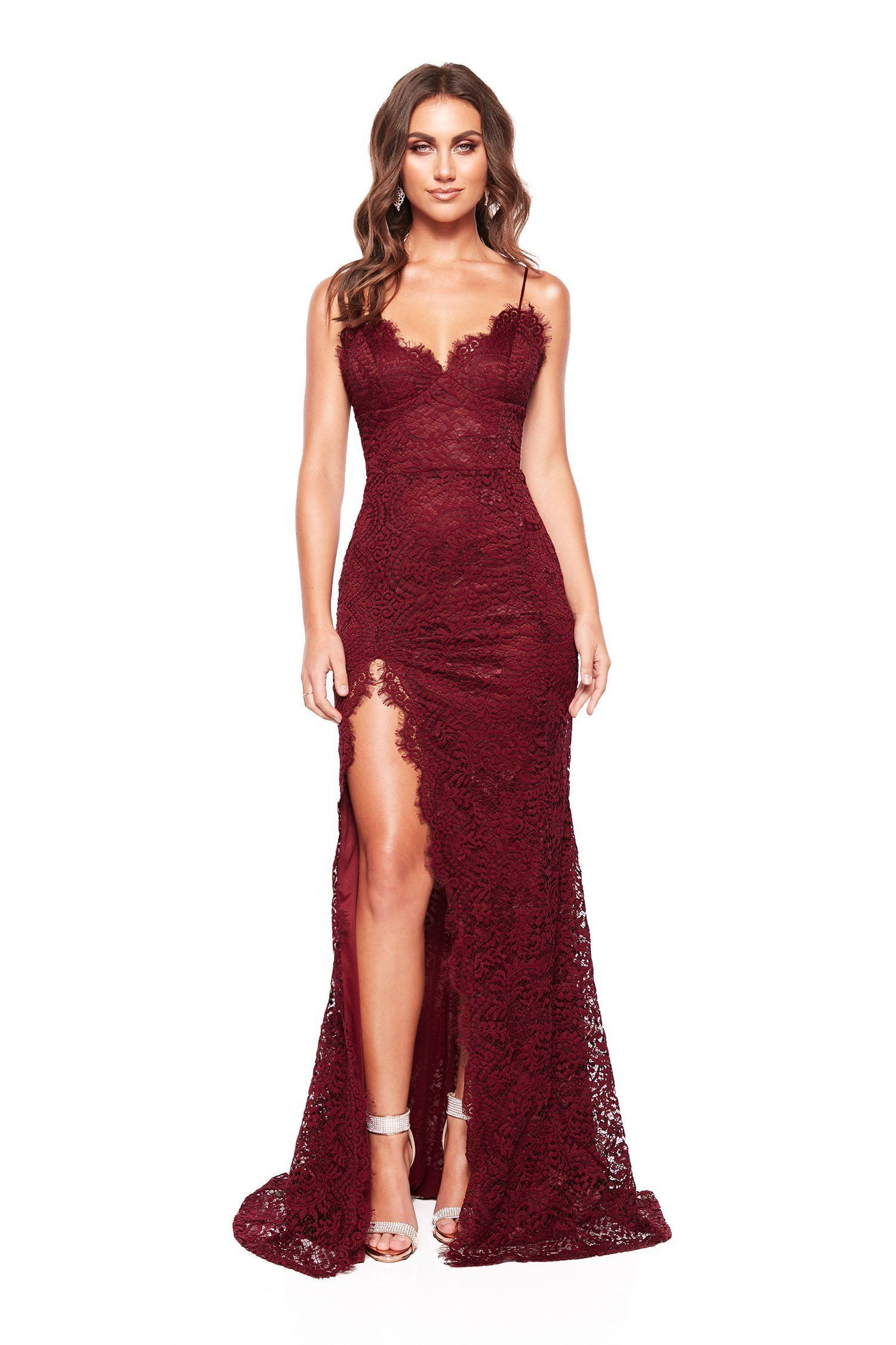 323f38f7004a6e Layali - Sleeveless Plum Lace Gown with Side Split, V Neck & Open Back –  A&N Luxe Label