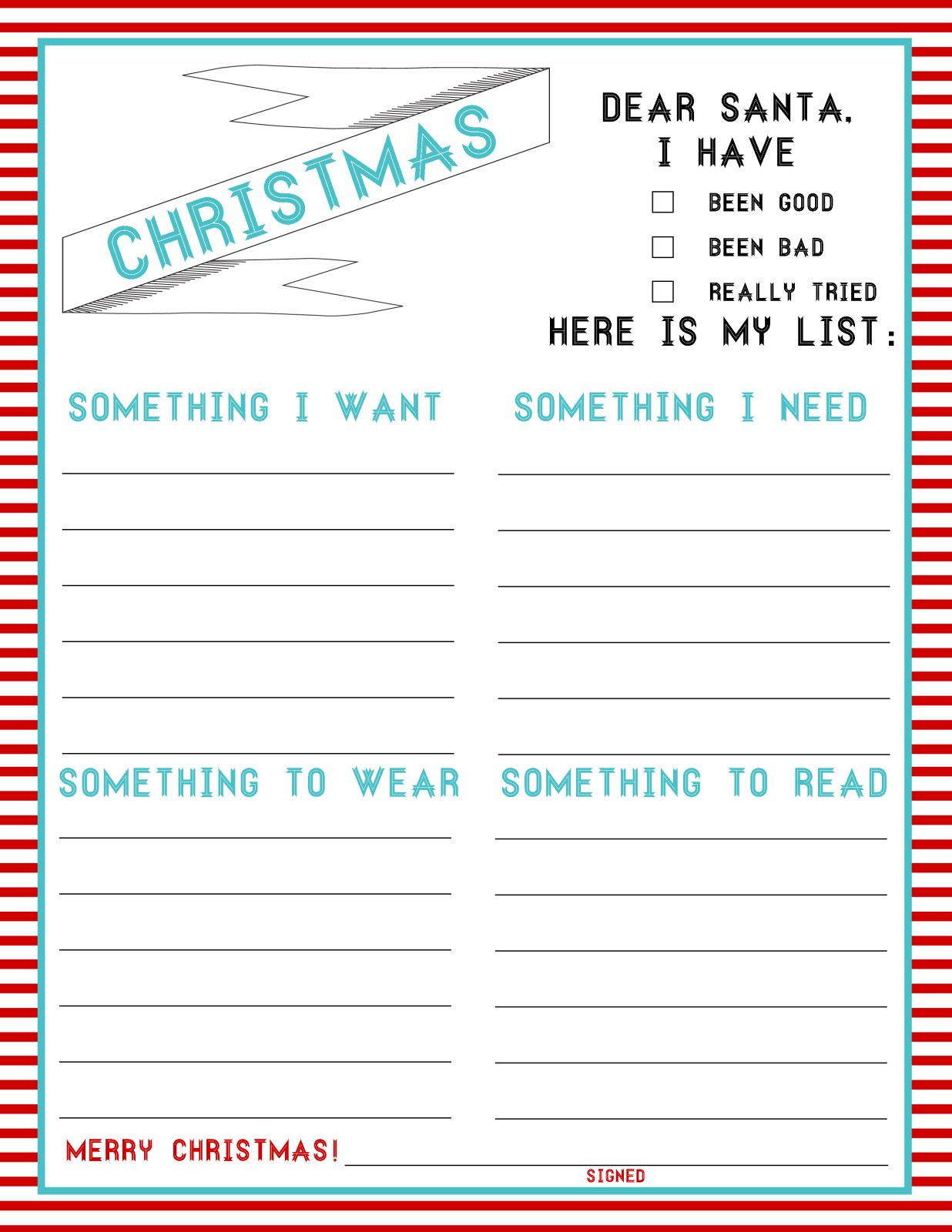 The Christmas List 4 Things Freebie