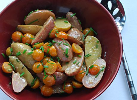 Quick, delicious Potato and Cherry Tomato Salad with yummy mustard vinaigrette — Blue Kitchen