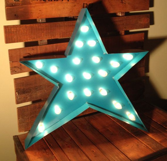 Vintage Steel Welded Marquee Sign Star with lights by Farnswood, $175.00