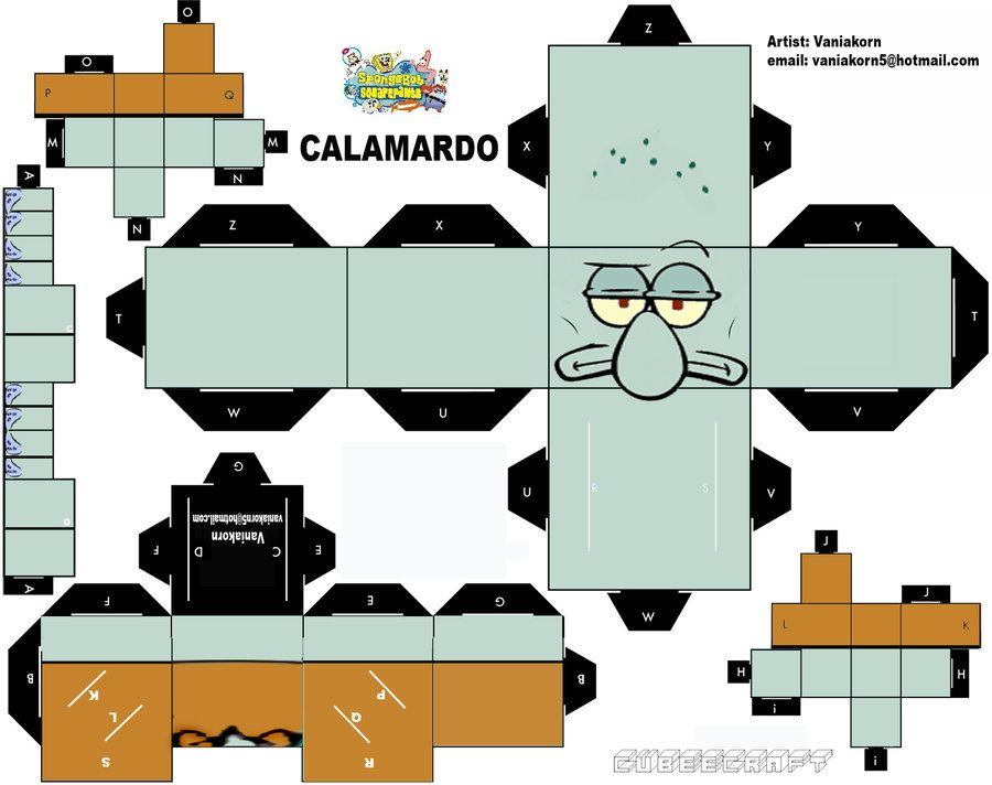 Cubeecraft Calamardo Spongebob By Vaniakorn5 Deviantart Com On