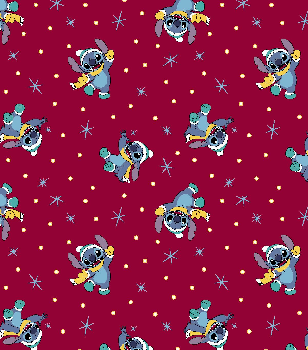 Disney Lilo Stitch Christmas Knit Fabric Red Cute Christmas Wallpaper Christmas Wallpaper Lilo And Stitch