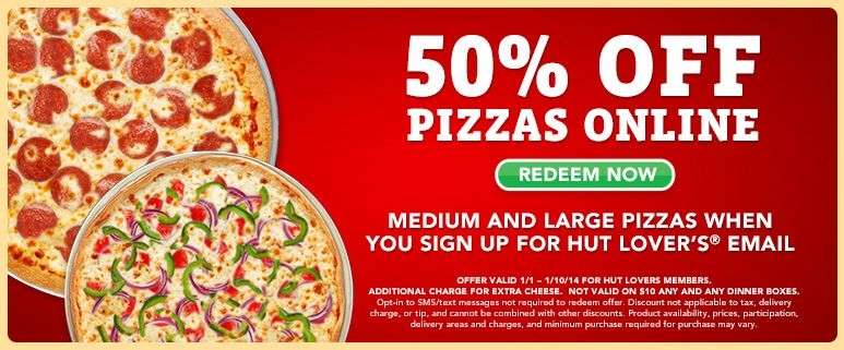 image regarding Pizza Hut Printable Application called Pizza Hut: 50% Off Any Medium or Heavy Pizza (Purchase On the web