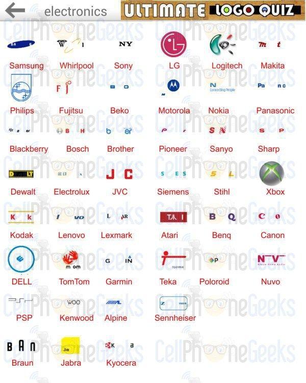 Ultimate Logo Quiz Electronics Answers Cellphonegeeks Logo Quiz Logo Quiz Answers Quiz