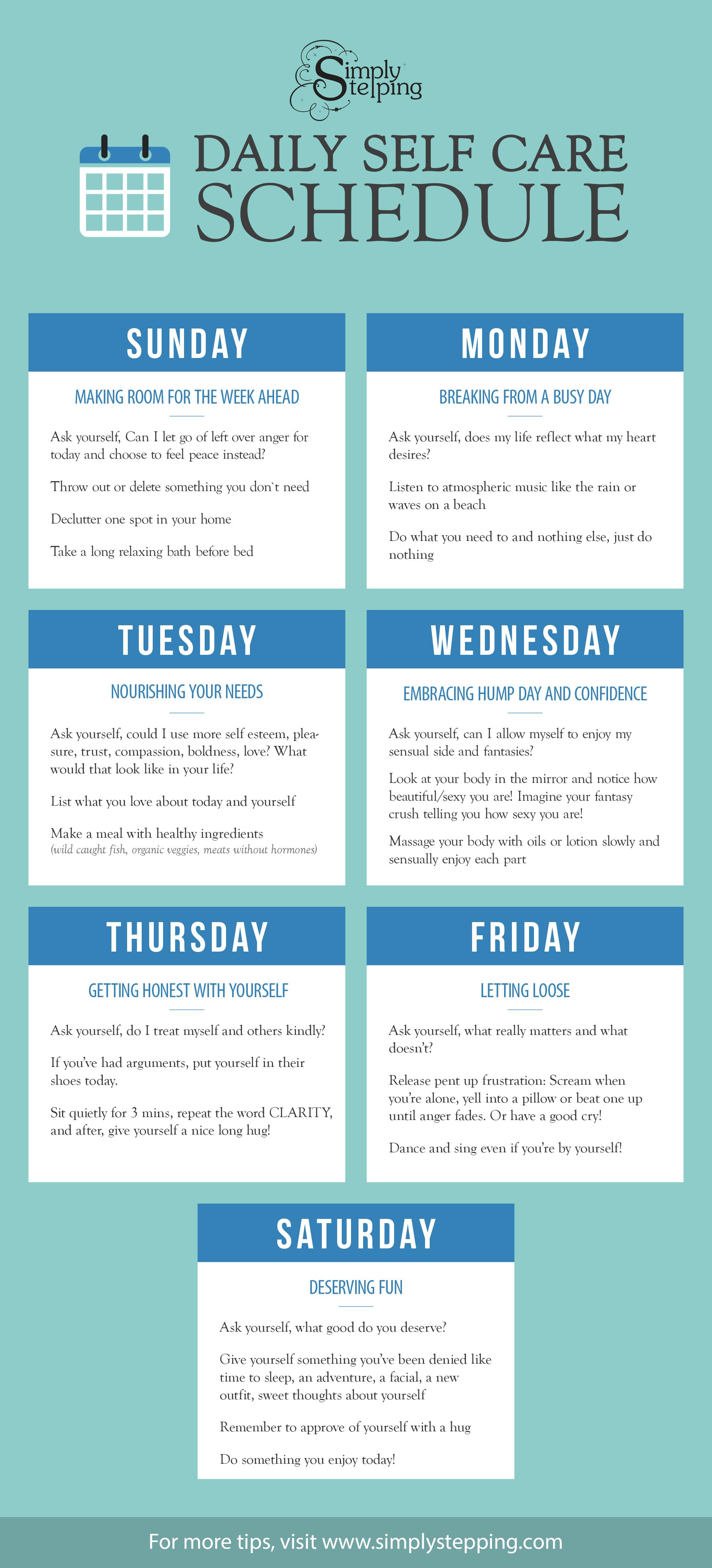 Daily Self Care Schedule