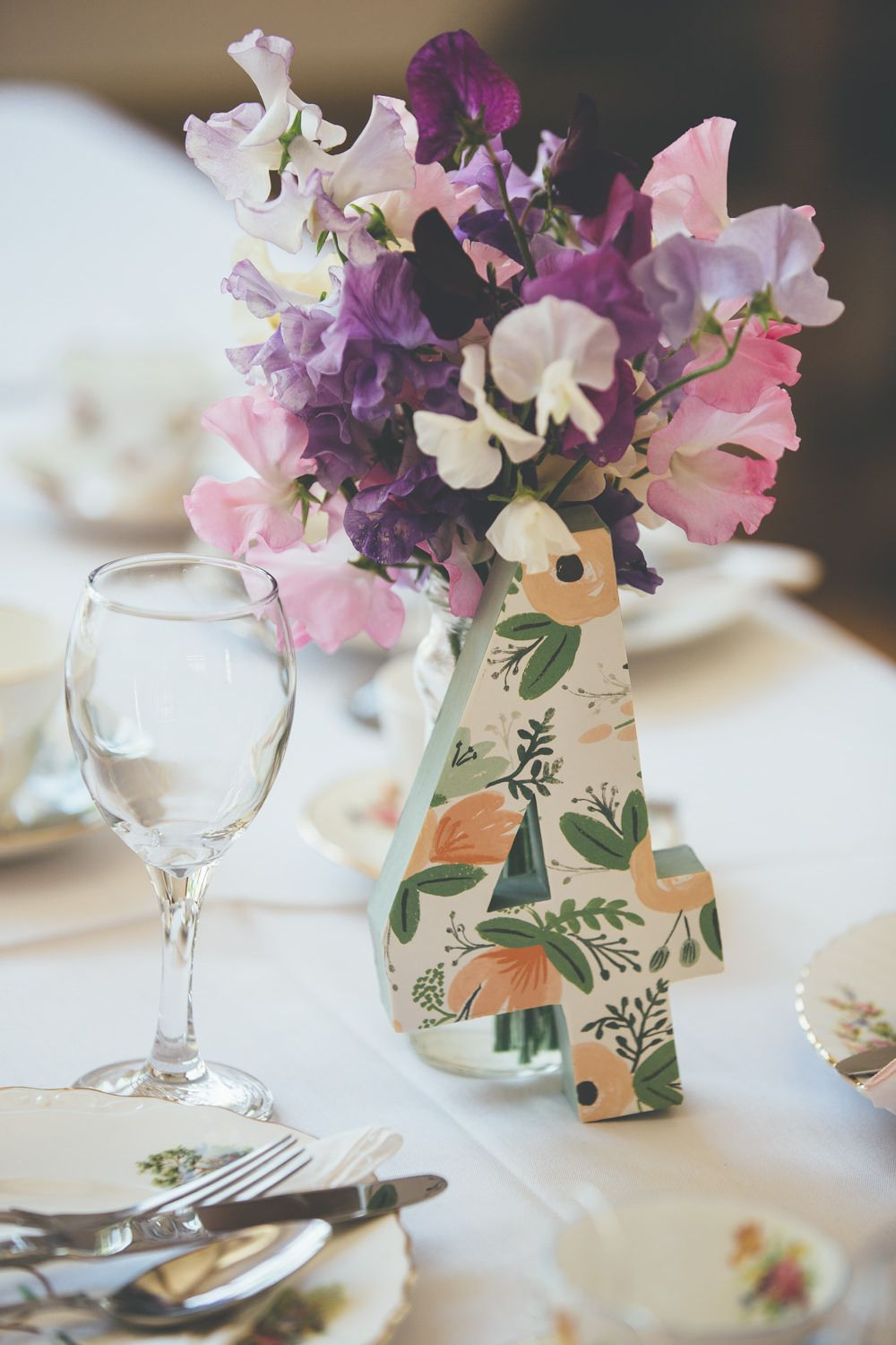 Decoupaged Paper Mache Table Numbers In Wrapping