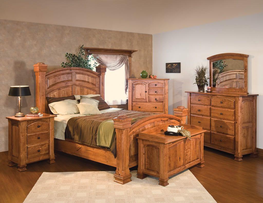 Luxury Amish Rustic Cherry Bedroom Set Solid Wood Full Queen King Size Rustic Bedroom Furniture Oak Bedroom Furniture Wood Bedroom Furniture Sets