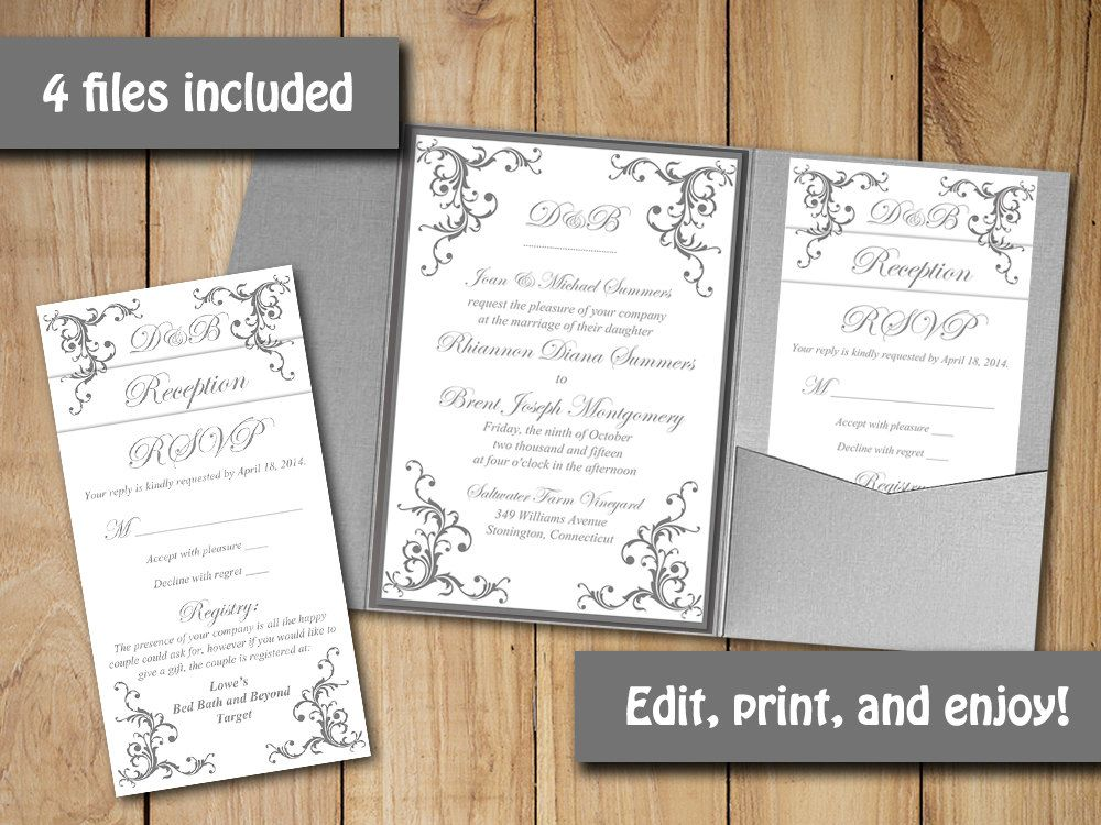 Wedding Pocketfold Invitation Template Instant Download \