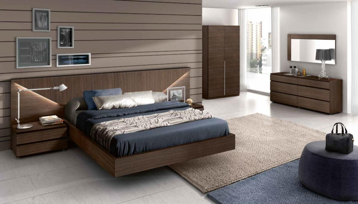 Dark Walnut Finish Bedroom Set With Headboard Lights  Bed Sets Captivating Designer Bedroom Suites Inspiration Design