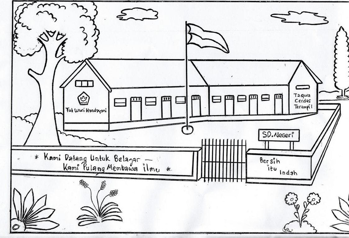 Gambar Mewarnai Pemandangan Sekolah | Grosir DP BBM ...