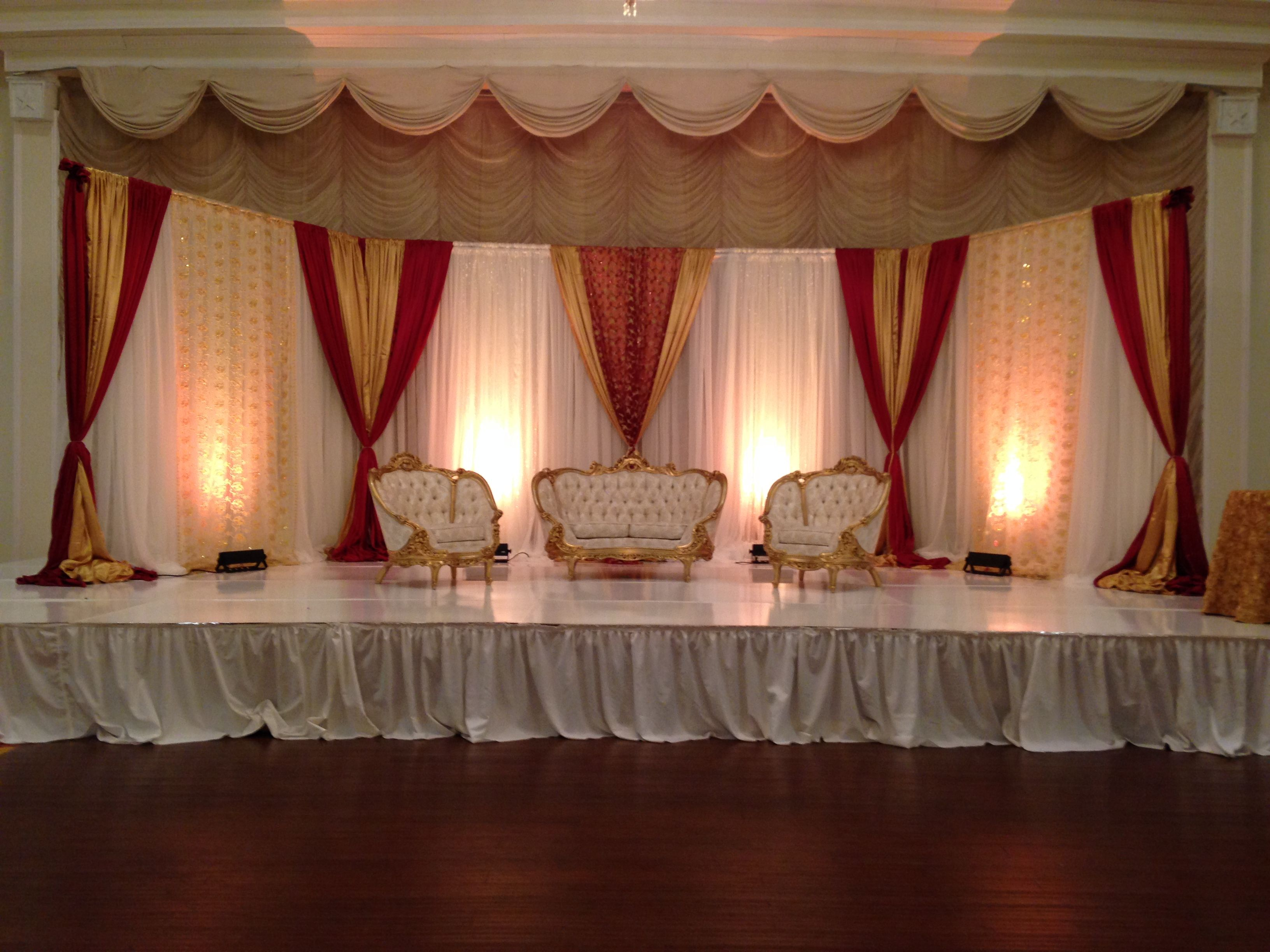 South Asian Wedding Backdrop Ivory Gold & Red Wedding Backdrop ...