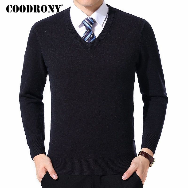 COODRONY Sweater Men Clothes 2018 Autumn Winter Cashmere Wool Pullover  Sweaters Plus Size Business Casual V-Neck Pull Homme 8128 Review 1efb0d5a3
