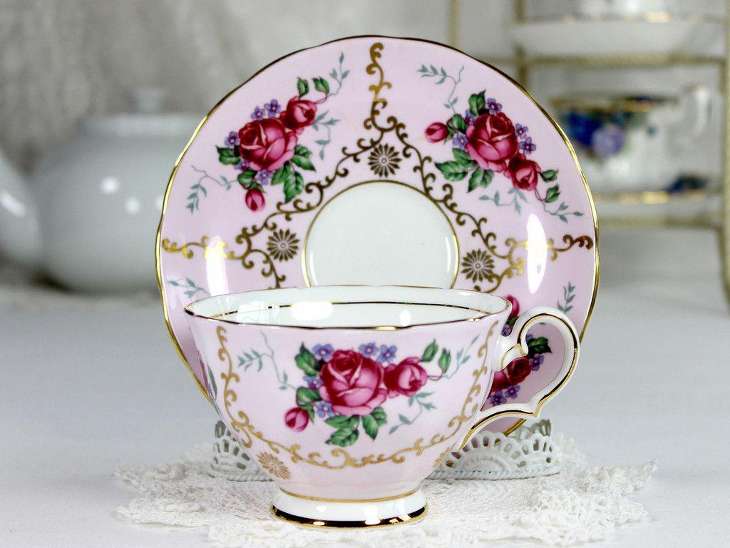 Grosvenor Pink Tea Cup and Saucer, Deep Pink Roses, Bone China, English Teacups 12442