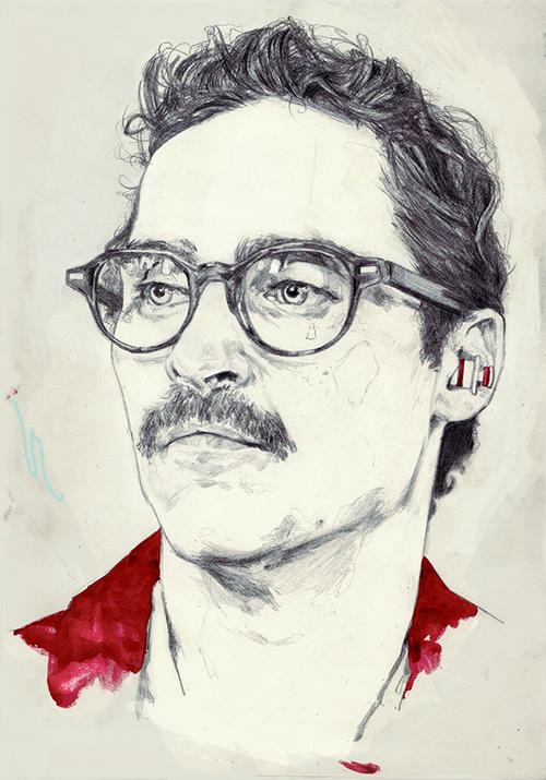 Drawing Portrait Watercolor Her Moleskine Sketchbook Joaquin Phoenix