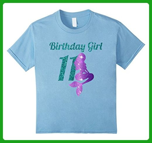 Kids 11th Birthday Girl Of Mermaid T Shirt 11 Years Old 6 Baby Blue