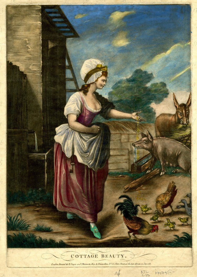 """Cottage Beauty"". A young woman in rustic dress scattering grain from her apron for chickens, with a cottage behind to left, a sow drinking at a trough and a donkey grazing at a manger in the walled yard, behind to right. Hand-coloured mezzotint with some etching."