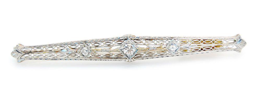 Antique Filigree Diamond Bar Pin w/ Platinum Top set in 14K White Gold