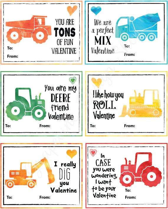 Kids Valentine Cards Tractor And By Grapevinedesignshop On Etsy Valentine S Cards For Kids Printable Valentines Cards Valentines For Kids
