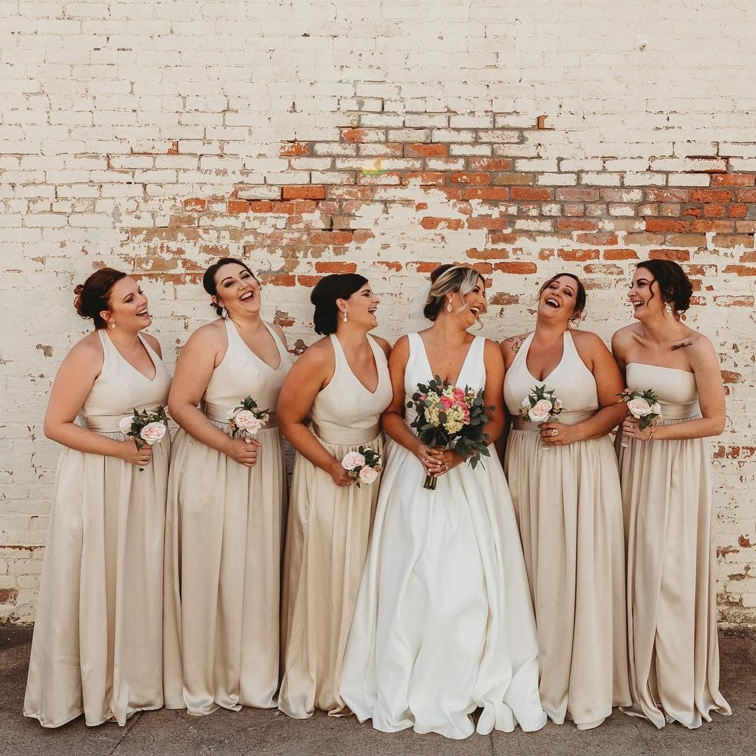 Sophistication And Smiles In These Whitexverawang Champagne Bridesm Champagne Bridesmaid Dresses Davids Bridal Bridesmaid Dresses Vera Wang Bridesmaid Dresses