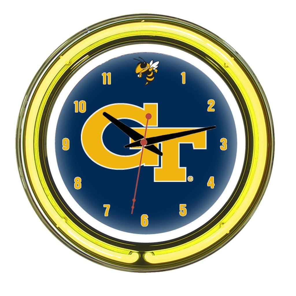 Georgia tech yellow jackets 14 inch wall clock in neon georgia georgia tech yellow jackets 14 inch wall clock in neon amipublicfo Choice Image