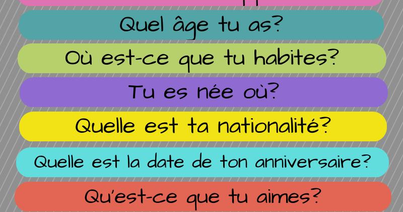 Comment se présenter en français? Se informer sur l'identité, l'âge, la nationalité ou les goûts d'une personne