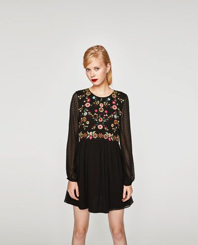 Zara kleid schwarz mit stickerei