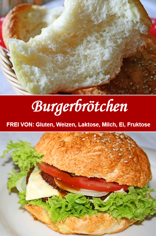 Glutenfreie Burgerbrötchen! www.rezepte-glutenfrei.de #onepanchicken