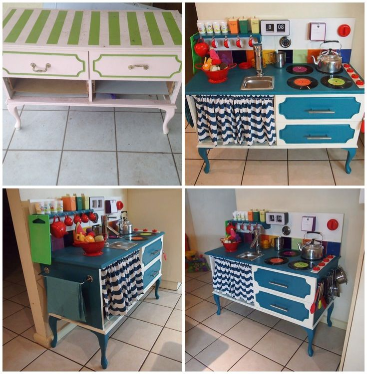 Queen Anne Dressing Table Turned Kids Kitchen Before And After