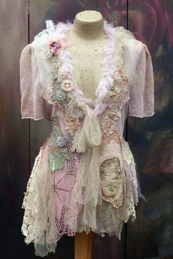 Soft shades cardi bohemian romantic altered couture