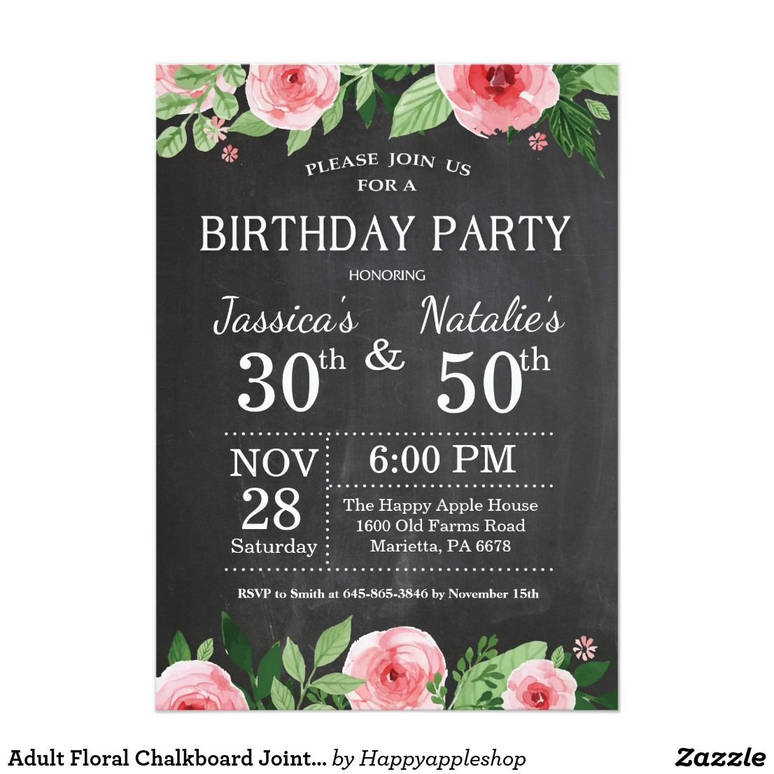 Adult Floral Chalkboard Joint Birthday Party Invitation Combined Co