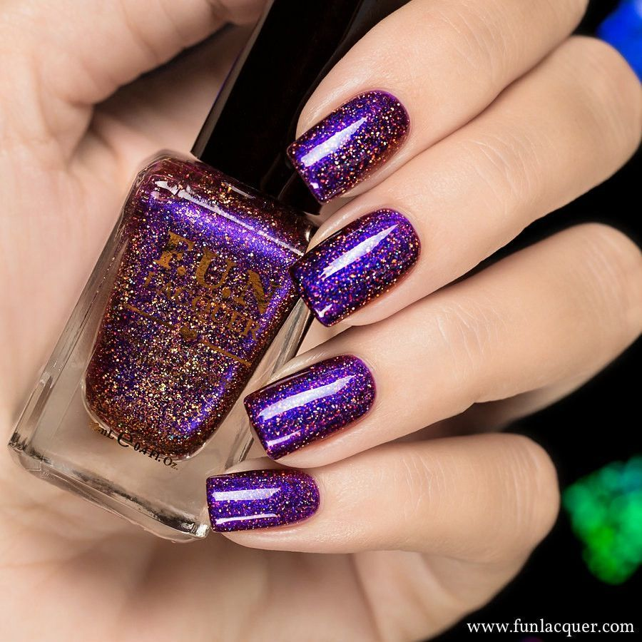 F.U.N Lacquer - Cheers to the Holidays Holo | Purple nail polish ...