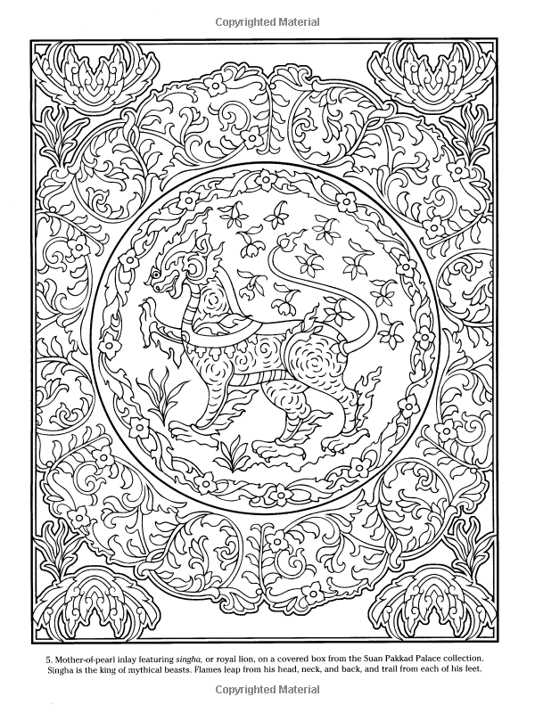 Thai Decorative Designs (Dover Coloring Books) Marty Noble | ✐Asian ...