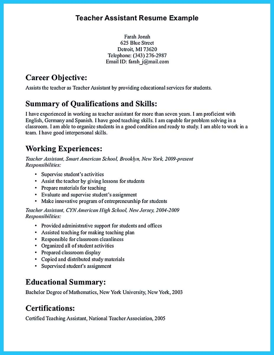 Cool Grabbing Your Chance With An Excellent Assistant Teacher Resume Teacher Resume Examples Teaching Resume Job Resume Samples