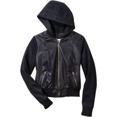 7a0e3dea5 Mossimo Supply Co. Junior's Mixed Media Hooded Jacket in Black faux ...