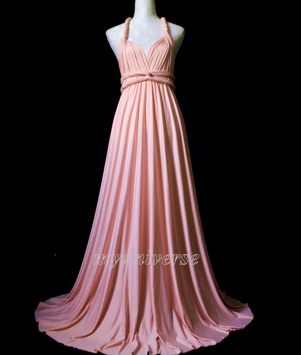 Bridesmaid Dress Wrap Convertible Dress Baby Pink Infinity Dress ...