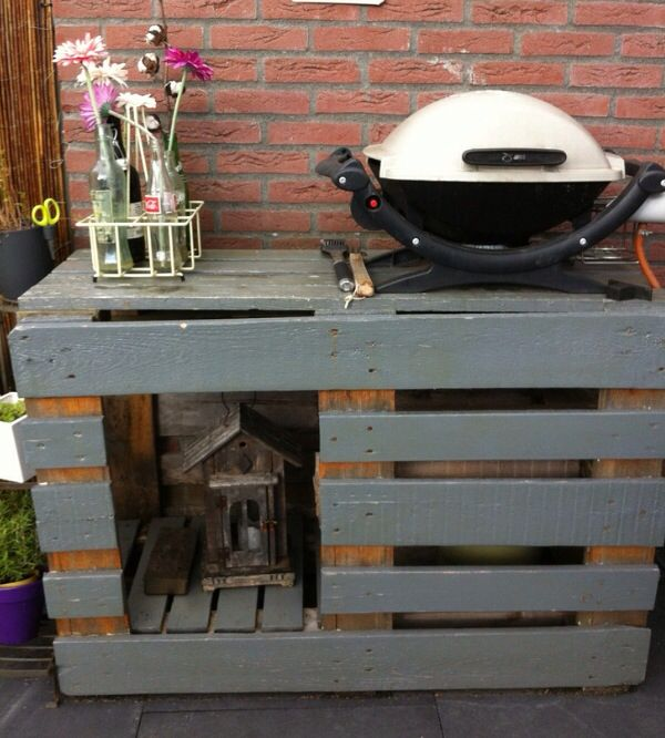 pallet ideas for bbq area meuble plancha pinterest meuble plancha plancher et palette. Black Bedroom Furniture Sets. Home Design Ideas