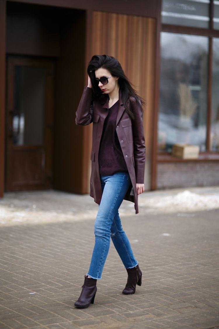 Veste en cuir femme- 38 idées cool de tenues automne
