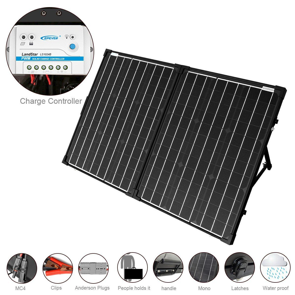 Amazon Com Acopower 100w Foldable Solar Panel Kit 12v Battery And Generator Ready Suitcase With Charge Contr Solar Panel Kits Best Solar Panels Solar Panels