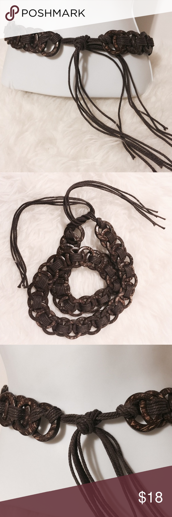 """✨ Brown Wooden Circle Tye Belt The perfect belt! Reversible brown/chocolate interlocking circles woven with brown strands. 1 1/2"""" wide. 60"""" total length Accessories Belts"""