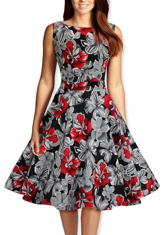 14b2f026f1 Red and Black Floral Patchwork Round Neck Fashion Midi Party Dress  Red   Black  Party  Dress  Fashion